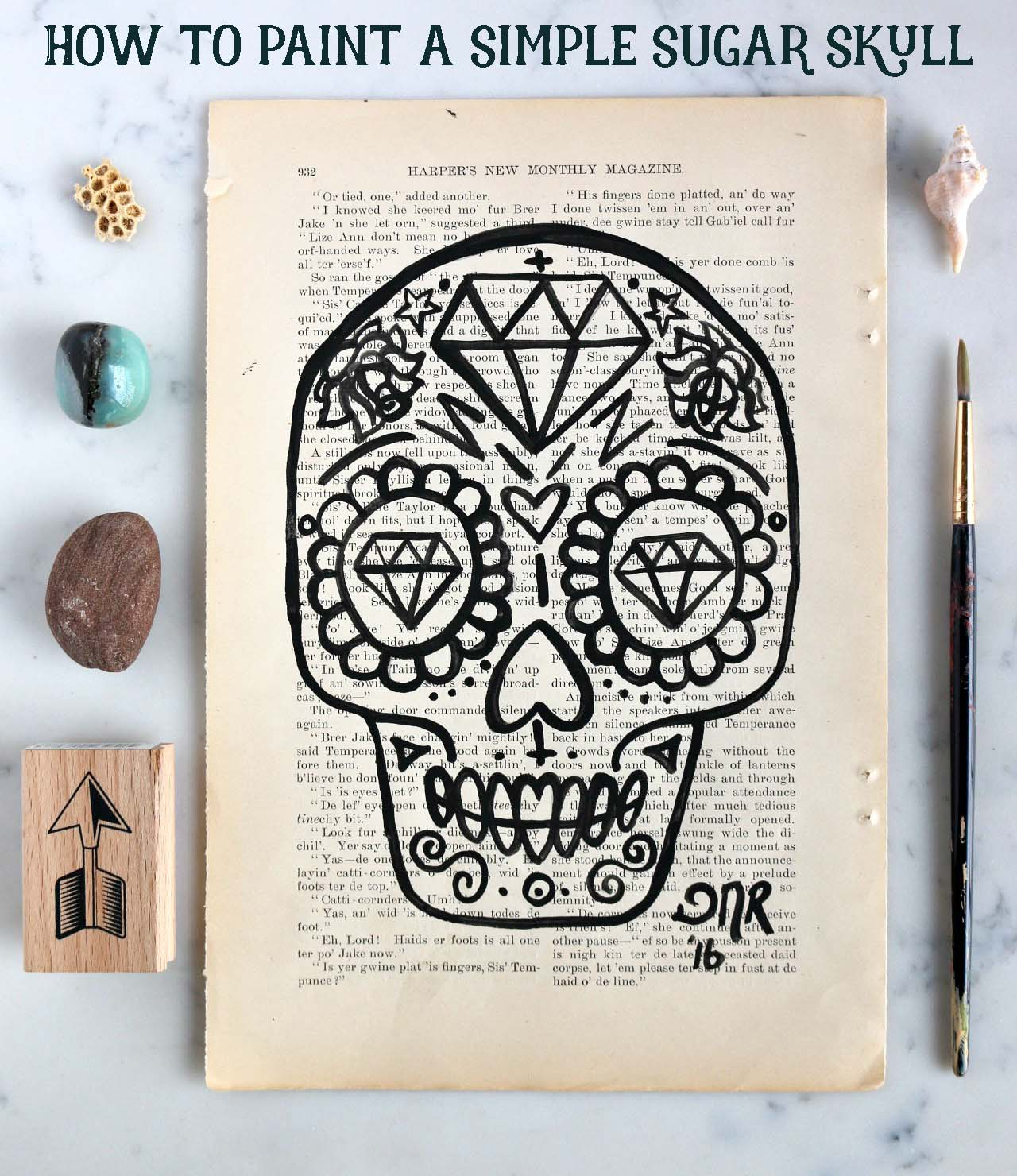 how to paint a simple sugar skull design free download